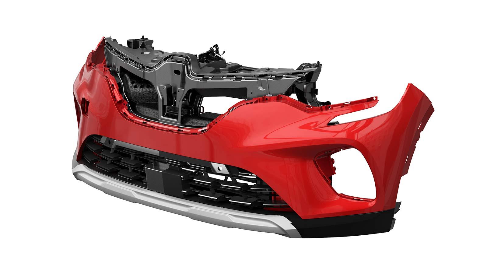 Полностью укомплектованный передний модуль амортизатора удара бампера Renault Captur с компонентами EPP.