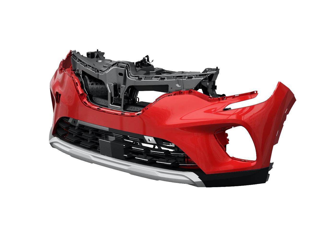 Module de protection passive pour piétons avant - Sortie d'air avant d'un Renault Captur et absorbeur de pare-chocs avant.
